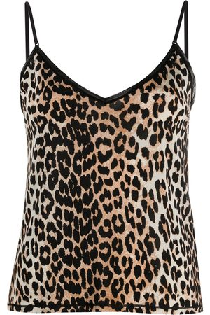 Ganni Senhora Tops de Alças - Leopard-print spaghetti-strap top
