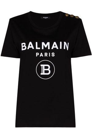 Balmain BALM CN SS TEE LOG W 3 BTTN SHLDR DTL