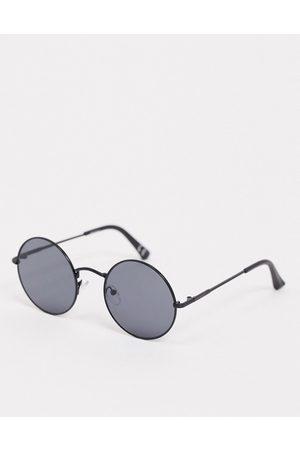 ASOS Homem Óculos de Sol - Round sunglasses in matte black with black lens