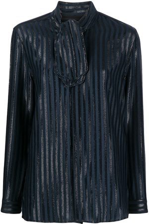 Saint Laurent Tie-neck metallic threading shirt