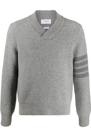 Thom Browne Homem Camisolas - Tonal 4-Bar shawl pullover