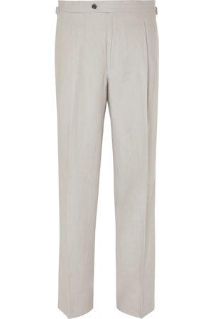 Saman Amel Wide-Leg Pleated Linen Trousers