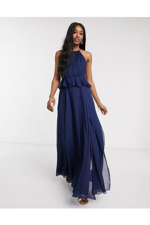 ASOS Pleated halter maxi dress with ruffle waist detail in navy