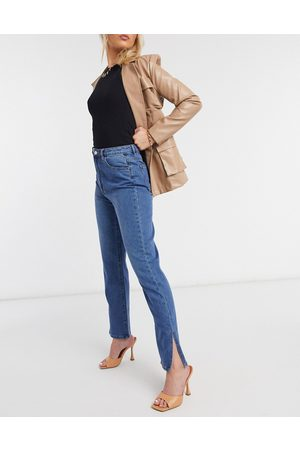 Missguided High waisted wrath straight leg jean with split hem in blue