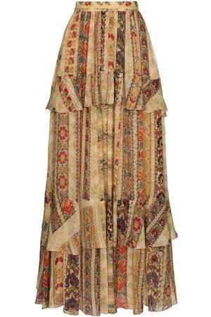 Etro Tapestry print ruffled maxi skirt