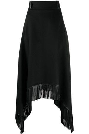 Saint Laurent Fringed handkerchief-hem skirt