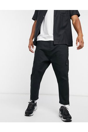 ASOS Drop crotch cargo trousers with toggle-Black