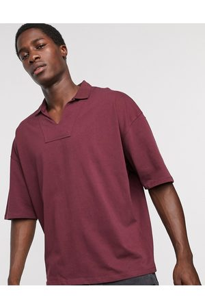 ASOS Oversized heavyweight overhead retro style polo in burgundy-Red