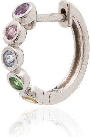 Roxanne First 14kt white gold sapphire hoop earring