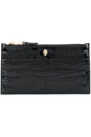 Alexander McQueen Flat zip crocodile-effect wallet