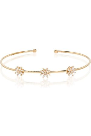 Suzanne Kalan 18kt yellow gold diamond flower bracelet