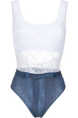 AMIR SLAMA Lace and denim swimsuit