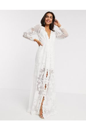 ASOS Gayle blouson sleeve embroidered applique wedding dress-White