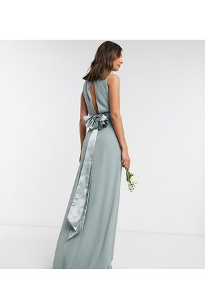 TFNC Bridesmaid cowl neck bow back maxi dress dress in sage-Green