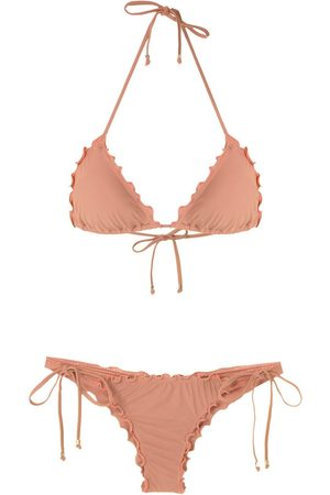 AMIR SLAMA Ruffled triangle bikini set