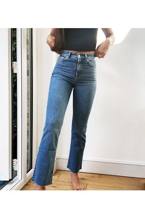 ASOS ASOS DESIGN Tall high rise stretch 'effortless' crop kick flare jeans in midwash-Blue