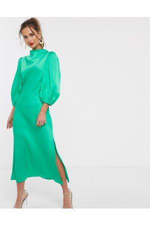 ASOS Cowl neck satin tea midi dress with puff sleeve in green