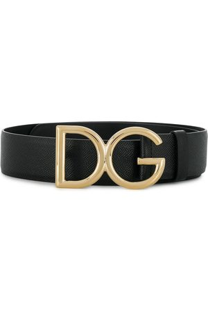 Dolce & Gabbana Senhora Cintos - DG logo pebbled leather belt