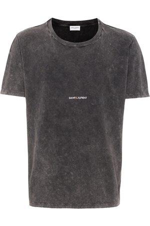 Saint Laurent Homem T-shirts & Manga Curta - Logo-print distressed-effect T-shirt