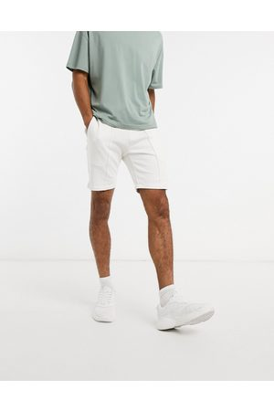 ASOS Co-ord jersey skinny shorts with pin tucks in white