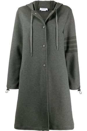 Thom Browne Senhora Parkas - Hooded snap front parka with 4-bar in double face tech twill
