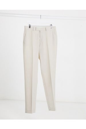 ASOS Wedding slim suit trousers in stone crosshatch