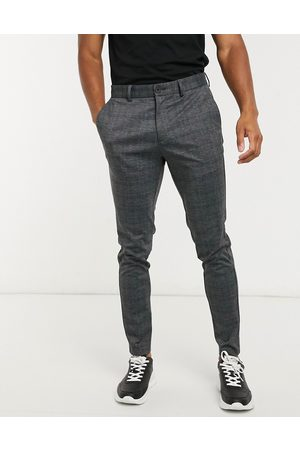 Jack & Jones Intelligence slim fit jersey trousers in dark grey check