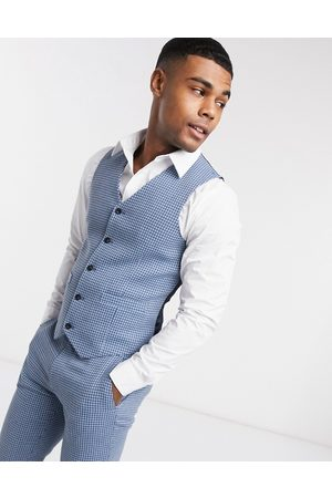 ASOS Wedding super skinny wool mix suit waistcoat in blue houndstooth check