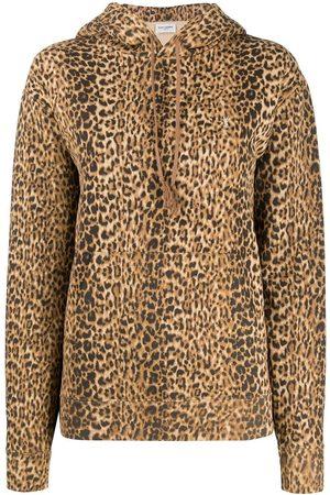 Saint Laurent Leopard-print cotton hoodie