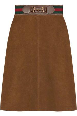 Gucci Horsebit suede midi skirt