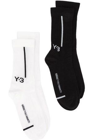 Y-3 Homem Meias - Logo-intarsia two pack socks