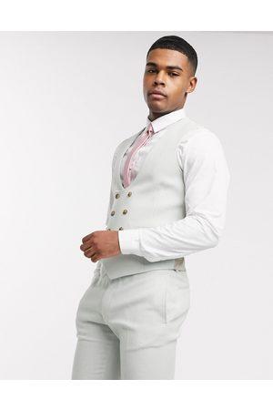 ASOS Wedding super skinny wool mix suit waistcoat in light blue twill-Green