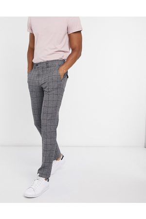 Selected Slim fit trouser in dark grey check