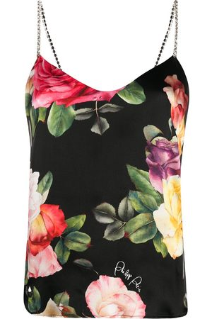 Philipp Plein Holiday Flowers print silk vest top