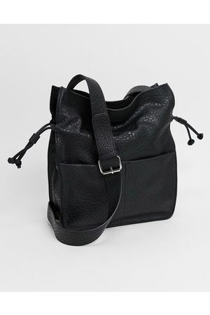 ASOS Soft drawstring tote in grainy black PU
