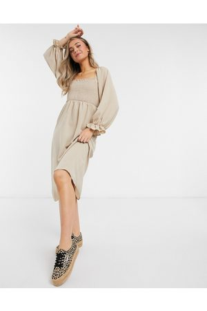 New Look Shirred square neck midi dress in camel-Beige