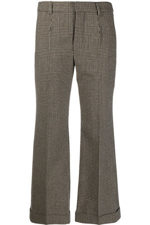 Saint Laurent Houndstooth kick-flare cropped trousers