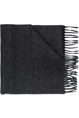 Saint Laurent Logo patch fringed scarf