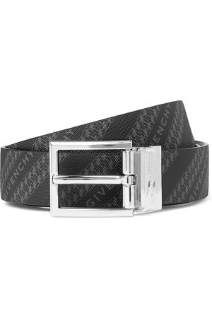 Givenchy Homem Cintos - 3cm Reversible Logo-Print Canvas and Leather Belt