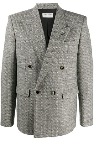 Saint Laurent Deconstructed check double-breasted blazer