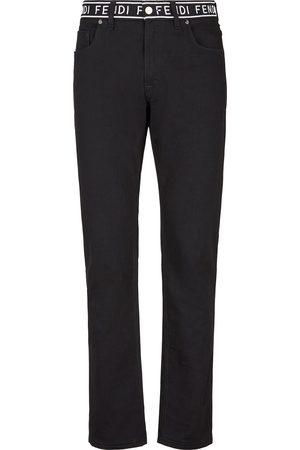 Fendi Logo-tape straight-leg jeans