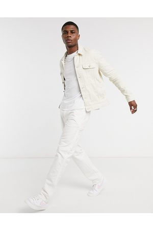 ASOS Regular denim jacket in ecru-Cream