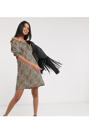 Wednesday's Girl Mini dress with puff sleeves in leopard print-Brown