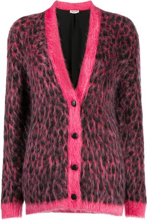 Saint Laurent Brushed leopard-print wool cardigan