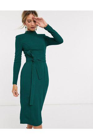 ASOS Senhora Vestidos Midi - Long sleeve midi dress with obi belt in green