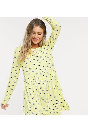 Wednesday's Girl Senhora Vestidos Casual - Long sleeve smock dress in yellow floral