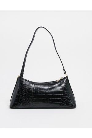 ASOS Black croc effect shoulder bag with hardware tabs