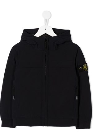 Stone Island Zip-front logo patch hoodie