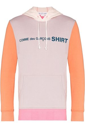 Comme des Garçons Colour block cotton logo hoodie