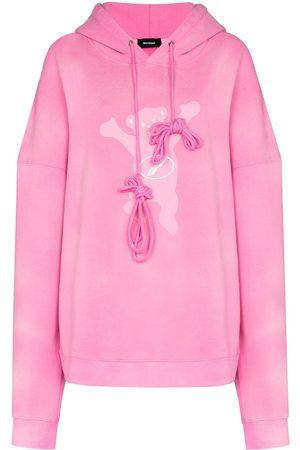 We11done Senhora Tops de Cavas - Teddy-print relaxed-fit hoodie